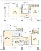間取図/区画図:103平米・3LDK・最上階メゾネットタイプ